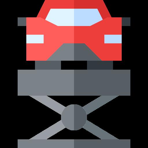 Logo montrant une voiture rouge sur un pont élévateur pour évoqué la mécanique de pièces auto