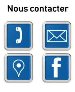 Images décrivant un téléphone une lettre un logo facebook pour contacter Pièces Auto Pneus