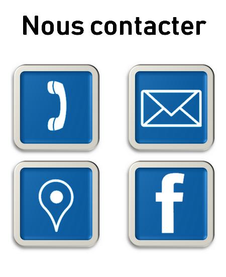 Dessin d'un téléphone, une lettre, un logo géolocalisation de carte, logo Facebook interactif lier au lien de la page contact
