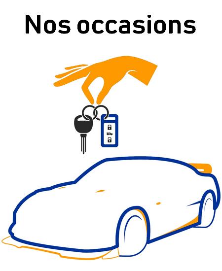 Dessin de voiture d'occasion avec clés interactif lier au lien de la page véhicule d'occasion
