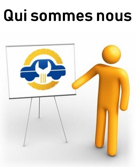 Image montrant un personnage jaune mettant en valeur un tableau avec le logo de pièces auto pneus présentation qui sommes nous