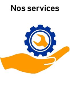 Logo décrivant une main jaune proposant une clé pour montré les services Pièces Auto Pneus