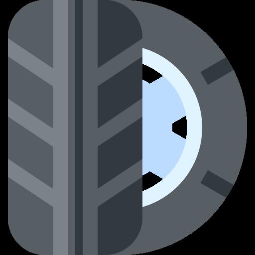 Logo montrant deux pneumatiques un de profile et l'autre de face