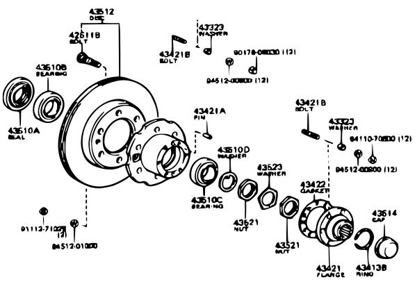 Schéma technique d'un moyeu vue éclatée des pièces auto